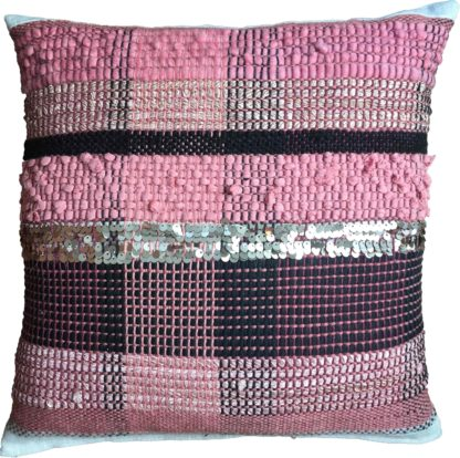 woven cushion with shades of pink and black with sequin detail
