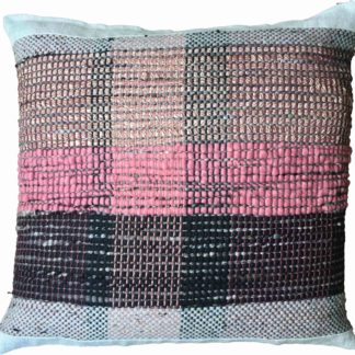 pink and black striped cushion